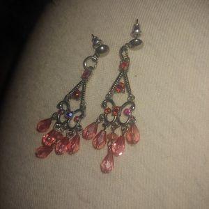 Beautiful beaded pink dangle chandelier earrings